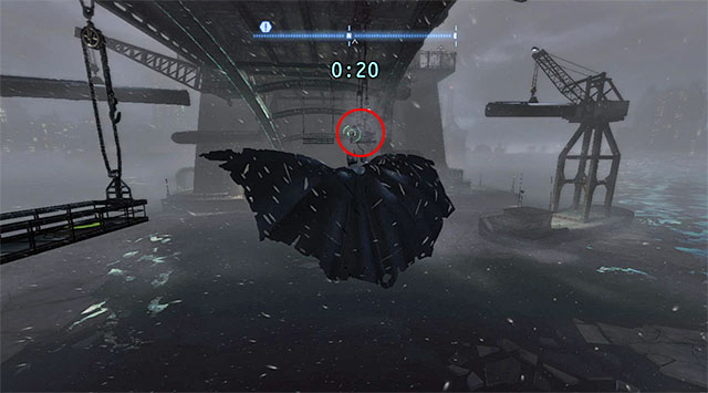 Glide towards the balcony located directly to the North (the screenshot) and pull yourself towards it using the hook - The best hidden datapacks - Extortion File 11 (Gotham Pioneers Bridge) - Enigma Datapacks - Batman: Arkham Origins - Game Guide and Walkthrough