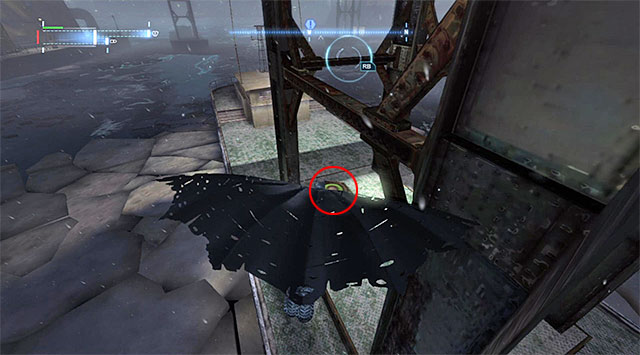 Start gliding, perform a turn in mid-air and land onto the second pressure plate (the screenshot) - The best hidden datapacks - Extortion File 11 (Gotham Pioneers Bridge) - Enigma Datapacks - Batman: Arkham Origins - Game Guide and Walkthrough