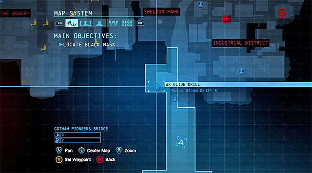 To start this task, you need to reach the Northern part of the Gotham Pioneers Bridge (the above screenshot) - Dark Knight System - Challenges - Batman: Arkham Origins - Game Guide and Walkthrough