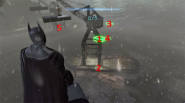 Glide towards ring 1 (the above screenshot) and start diving to reach ring 2 - Dark Knight System - Challenges - Batman: Arkham Origins - Game Guide and Walkthrough