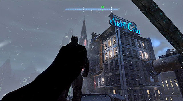 Notes: The Soder Cola building is in the North-Western part of the Diamond District (the screenshot) and you only need to reach the upper balcony - Dark Knight System - Challenges - Batman: Arkham Origins - Game Guide and Walkthrough