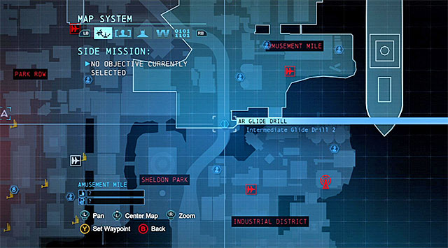 To start this task, you need to reach the Southern part of the Amusement Mile district (the above screenshot) - Dark Knight System - Challenges - Batman: Arkham Origins - Game Guide and Walkthrough