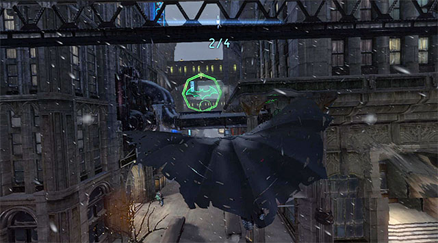 Start by diving towards the ledge right at the building's wall, below the starting point - Dark Knight System - Challenges - Batman: Arkham Origins - Game Guide and Walkthrough