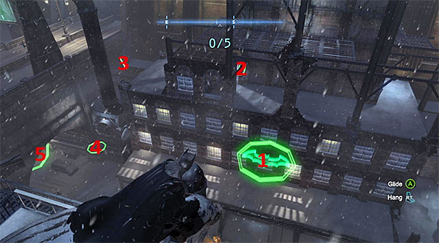 The initial part of this task is the most difficult one, where after you dive and get above ring 1 (the screenshot), you need to ascend at the moment that will allow you to glide through the pipes with rings 2 and 3 - Dark Knight System - Challenges - Batman: Arkham Origins - Game Guide and Walkthrough