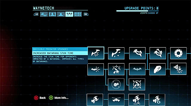 The Invisible Upgrades window - Invisible Predator Upgrades - Batmans gadgets and skills - Batman: Arkham Origins - Game Guide and Walkthrough