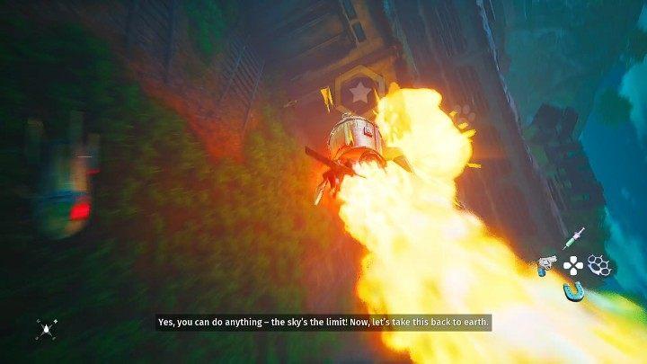 После боя взаимодействуйте с ракетой, и ваш герой будет цепляться за нее и направлять ее таким образом, чтобы ворота, ведущие к убежищу Гизмо, взорвались - Биомутант: Чугъярд - прохождение - Основные задачи - Руководство по биомутантам