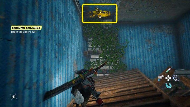 Войдя в разрушенное здание, найдите желтый предмет, показанный на изображении выше, затем подпрыгните и возьмитесь за край, чтобы попасть на более высокий уровень - Биомутант: Гизмо - пошаговое руководство - Основные задачи - Руководство по биомутантам