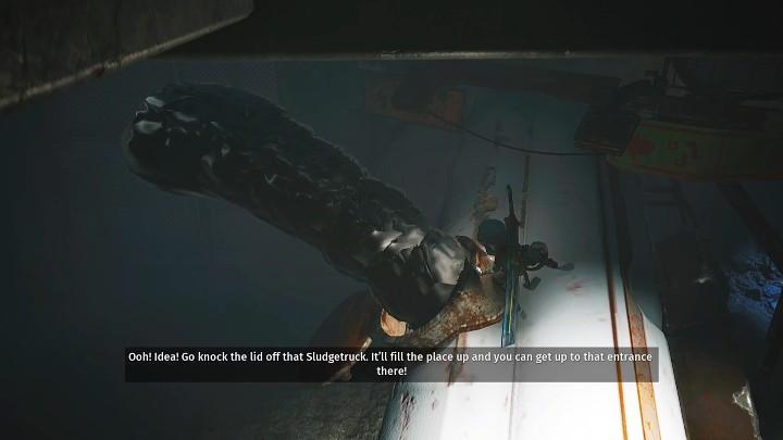 Спустившись на нижний уровень, запрыгните на танкер и откройте люк (нажимайте кнопки, которые начинают появляться на экране одну за другой), чтобы залить комнату маслом - Биомутант: Гизмо - пошаговое руководство - Основные задачи - Руководство по биомутантам