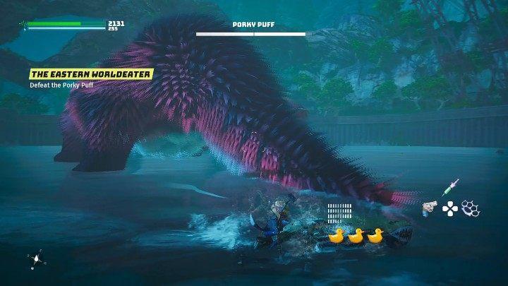 Когда вы плывете вокруг монстра сзади, следите за его большим хвостом, потому что Porky Puff может поднять его, а затем с силой ударить по земле - Biomutant: Porky Puff - как победить?  Бой с боссами - Боссы - Руководство по биомутантам