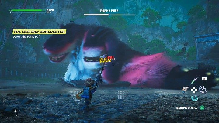 Во второй фазе боя остерегайтесь атаки широкой лапой - Biomutant: Porky Puff - как победить?  Бой с боссами - Боссы - Руководство по биомутантам