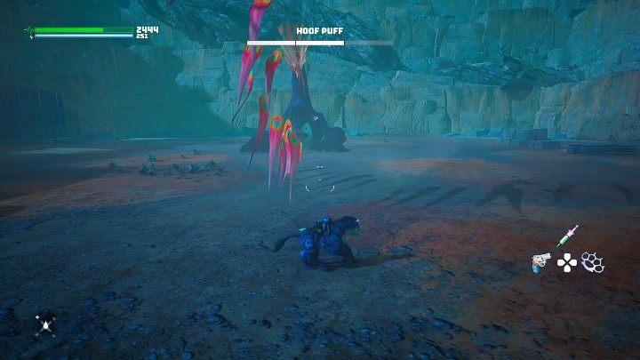 Во второй фазе боя Пухлое Копыто начнет стрелять пулями из своего хвоста - Биомутант: Северо-восточный Житель Мира - прохождение - Основные квесты - Руководство по биомутантам.