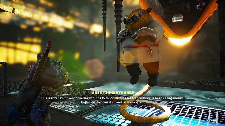Whiz расскажет вам о своем изобретении, Octopod, чтобы помочь вам бороться с Murk Puff - Biomutant: Whiz - прохождение - Основные квесты - Руководство по Biomutant