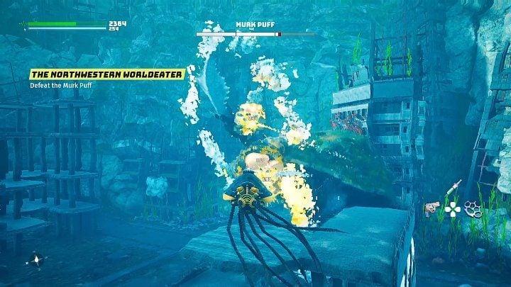 Если вы подойдете слишком близко к Мрачному Паффу, босс попытается ударить вас своими передними лапами - Биомутант: Северо-западный Пожиратель Миров - прохождение - Основные квесты - Руководство по биомутантам