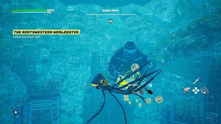 Когда Мерк Пафф прячется в свой панцирь, через некоторое время он начнет выпускать в вашу сторону что-то вроде подводных мин - Биомутант: Северо-западный Пожиратель Миров - прохождение - Основные квесты - Руководство по биомутантам.