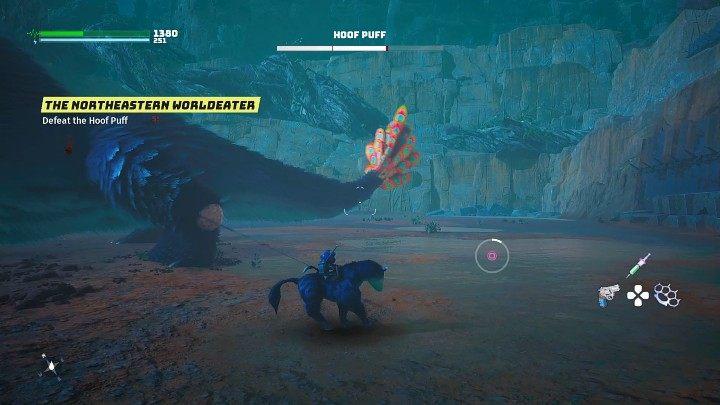 Когда Пафф Копытня пытается поймать Блестящего Бабочка, подбегите к нему и свяжите его лапы веревкой, затем нажмите нужную кнопку, чтобы сбить зверя - Biomutant: Hoof Puff - как победить?  - Боссы - Руководство по биомутантам