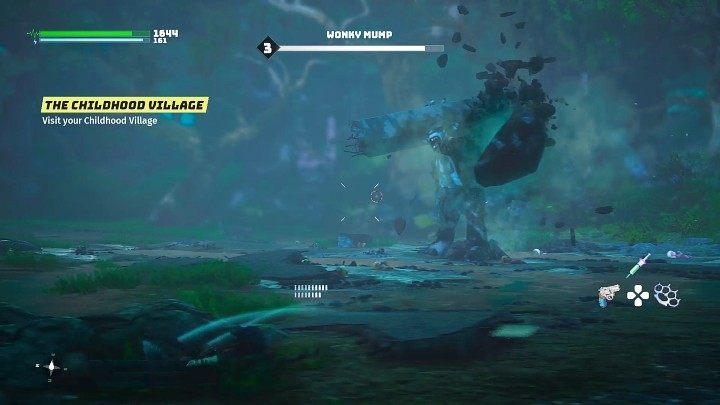 Враг также может с силой топнуть землю, создавая большой камень, который он бросит в вас через мгновение - Биомутант: Альянс - прохождение - Настоящий день - Руководство по биомутантам