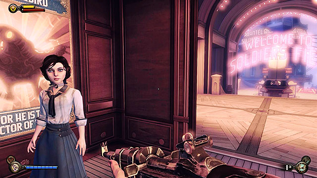Use the elevator travelling between the pavilion and the promenade and then go to the Toy Soldiers store located near a carousel - Introduction - Gear - BioShock: Infinite - Game Guide and Walkthrough