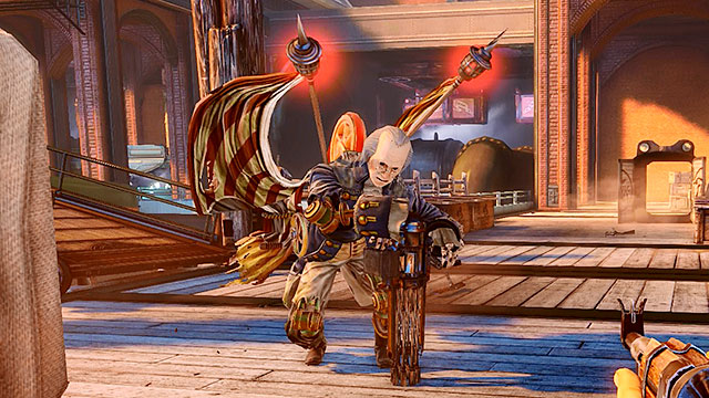 Motorized Patriots are human-like automatons and they carry very powerful Crank Guns - Powerful enemies - Enemies - BioShock: Infinite - Game Guide and Walkthrough