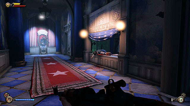 The first thing you should do after entering the Hall of Heroes is to proceed to the left corridor (the one with the motorized patriot) and search the ticket office - Find Shock Jockey at the Hall of Heroes - Chapter 9 - Hall of Heroes - BioShock: Infinite - Game Guide and Walkthrough