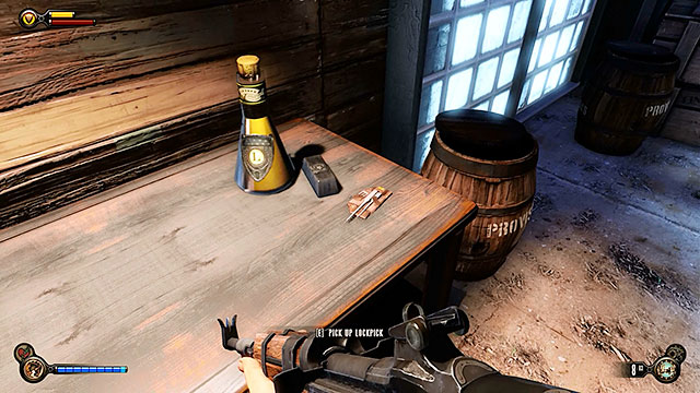 Check the table found opposite the statue in order to collect one more lockpick, as well as a silver tab and Infusion #8 - Find Shock Jockey at the Hall of Heroes - Chapter 9 - Hall of Heroes - BioShock: Infinite - Game Guide and Walkthrough