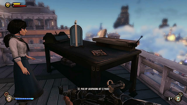 Theres a table near the stairs - Return to Soldiers Field and power up the gondola - Chapter 12 - Return to Hall of Heroes - BioShock: Infinite - Game Guide and Walkthrough