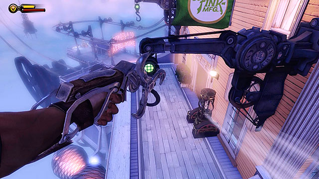 Use the sky-lines to get to the hotels balcony located in the middle of the promenade (between the ice cream shop and the gondola station) - Return to Soldiers Field and power up the gondola - Chapter 12 - Return to Hall of Heroes - BioShock: Infinite - Game Guide and Walkthrough