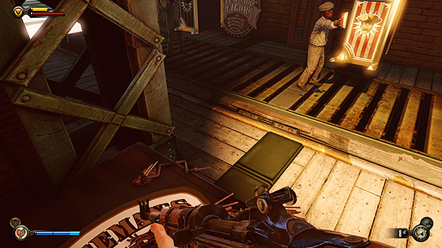 Theres a freight elevator in the middle of the docks - Find Elizabeth - Chapter 13 - Finkton Docks - BioShock: Infinite - Game Guide and Walkthrough