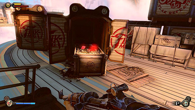 Once youre outside the building start off by exploring the nearest barge - Rescue Elizabeth - Chapter 15 - Fort Franklin Pier - BioShock: Infinite - Game Guide and Walkthrough