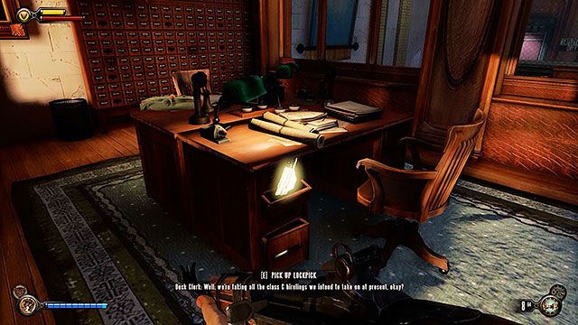 Proceed to the buildings main hall and explore the office located in the middle - Find a way into Finkton - Chapter 16 - Worker Induction Center / Finkton Proper - BioShock: Infinite - Game Guide and Walkthrough