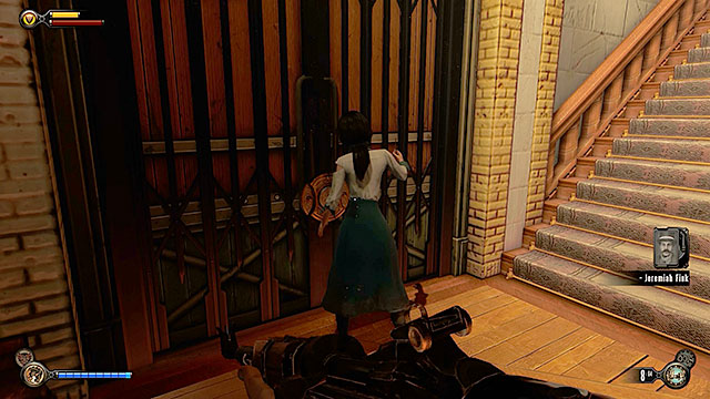 Walk past the people standing in front of a vending machine located in the middle of the hall and use the stairs (it doesnt matter on which side) to get to a lower floor - Find a way into Finkton - Chapter 16 - Worker Induction Center / Finkton Proper - BioShock: Infinite - Game Guide and Walkthrough