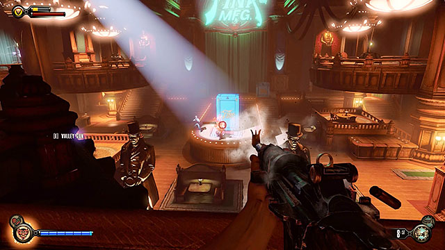 The first wave of enemy units will appear on the stage moments after entering the main area of the club - Go to The Good Time Club and rescue Chen Lin - Chapter 18 - The Good Time Club - BioShock: Infinite - Game Guide and Walkthrough
