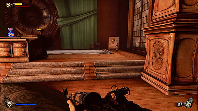 There is a safe near a large clock behind the desk and it can be opened by using 3 lockpicks - Go to The Good Time Club and rescue Chen Lin - Chapter 18 - The Good Time Club - BioShock: Infinite - Game Guide and Walkthrough
