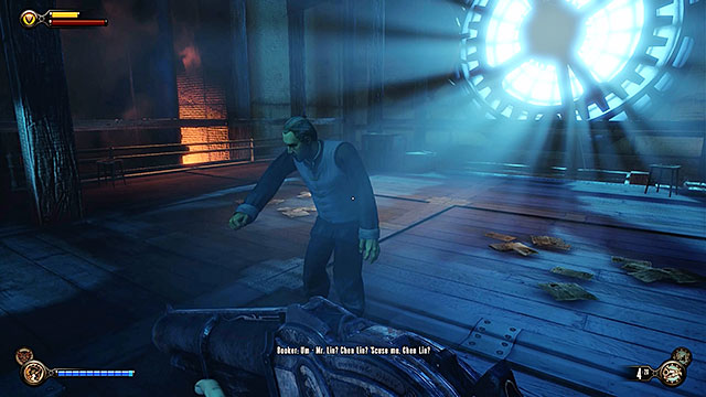 Get to the last floor of the workshop and initiate a conversation with spectral Chen Lin - Return to the gunsmiths workshop - Chapter 20 - Gunsmiths Shop - BioShock: Infinite - Game Guide and Walkthrough