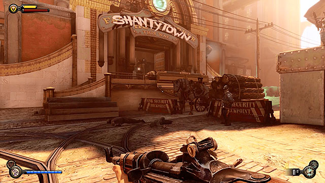 Immediately after leaving the workshop youre going to have to deal with a new group of policemen guarding the access to Shantytown - Find Shantytowns police impound - Chapter 20 - Gunsmiths Shop - BioShock: Infinite - Game Guide and Walkthrough