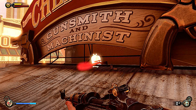 Plaza of Zeal - under the sign of the gunsmiths workshop - Chapters 17-18 - Gear - BioShock: Infinite - Game Guide and Walkthrough