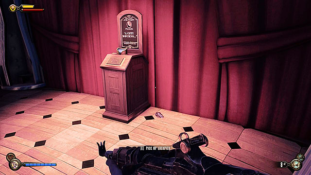 Soldiers Field - next to the kinetoscope at the upper gondola station - Chapter 12 - Lockpicks - BioShock: Infinite - Game Guide and Walkthrough