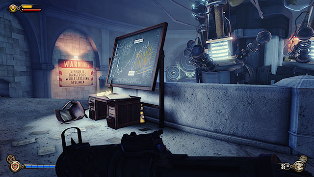 Theres a Voxophone #15: A Reward, Deferred - Ty Bradley on the desk in this room and you can also find Infusion #4 just behind it - Find the girl - Chapter 6 - Monument Tower - BioShock: Infinite - Game Guide and Walkthrough