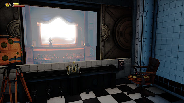Specimen Observation Room #4 has yet another two-way mirror, however youll also find a collectible here - Voxophone #16: The Source of Her Power - Rosalind Lutece - Find the girl - Chapter 6 - Monument Tower - BioShock: Infinite - Game Guide and Walkthrough