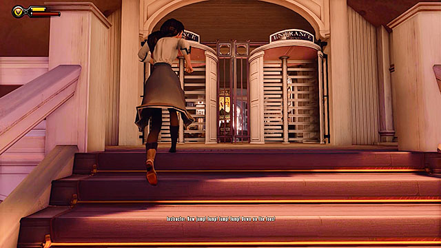 Head towards the door leading to the souvernirs shop - Take Elizabeth to the First Lady airship - Chapter 7 - Battleship Bay - BioShock: Infinite - Game Guide and Walkthrough