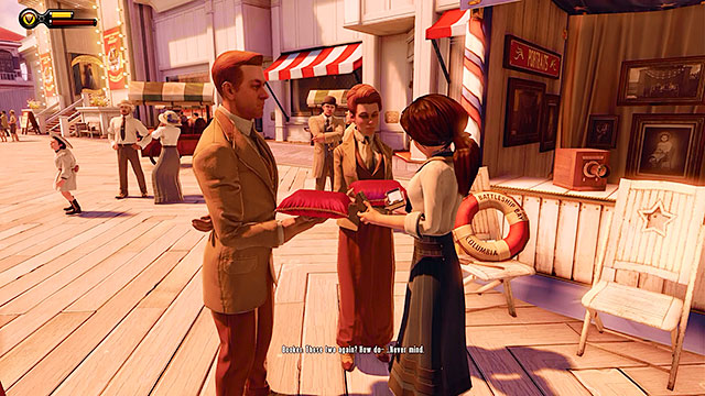 After leaving the shop youll both encounter the mysterious Lutece siblings - Choice: Marigold pin - Chapter 7 - Battleship Bay - BioShock: Infinite - Game Guide and Walkthrough