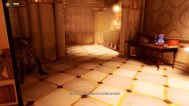 Make sure to explore the arcade, collecting mostly money and groceries - Choice: Marigold pin - Chapter 7 - Battleship Bay - BioShock: Infinite - Game Guide and Walkthrough