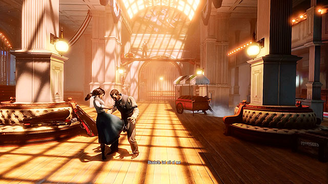 It doesnt really matter how youve reacted towards the usher, because youll soon find out that youve been ambushed and that people gathered in this hall want to capture the girl - Choice: Usher - Chapter 7 - Battleship Bay - BioShock: Infinite - Game Guide and Walkthrough