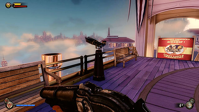 Make sure to check the upper station, because theres a Vantage Point #14: Telescope in front of the entrance - Pursue Elizabeth - Chapter 7 - Battleship Bay - BioShock: Infinite - Game Guide and Walkthrough