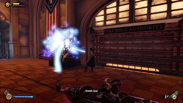 When youll approach the exit from the pavilion the electricity will malfunction and the door will close - Take Elizabeth to the First Lady airship - Chapter 8 - Soldiers Field - BioShock: Infinite - Game Guide and Walkthrough