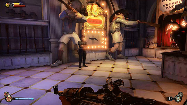 Once youve left the book shop turn right and use the promenade to get to the Toy Soldiers store located next to the carousel - Take Elizabeth to the First Lady airship - Chapter 8 - Soldiers Field - BioShock: Infinite - Game Guide and Walkthrough
