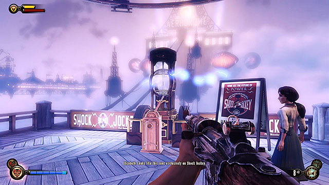 Descend to the promenade located beneath the carousel and turn right - Take Elizabeth to the First Lady airship - Chapter 8 - Soldiers Field - BioShock: Infinite - Game Guide and Walkthrough