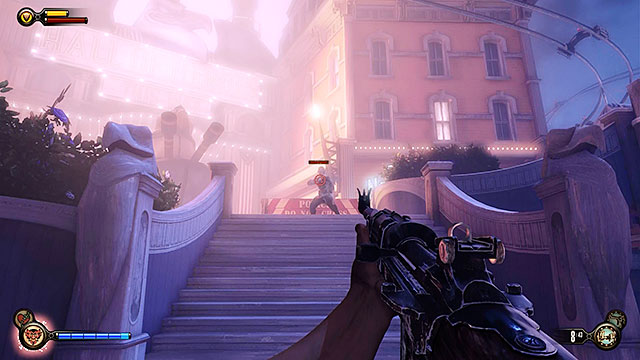 You will now have to fight your way back to the beginning of the promenade - Find Shock Jockey at the Hall of Heroes - Chapter 8 - Soldiers Field - BioShock: Infinite - Game Guide and Walkthrough