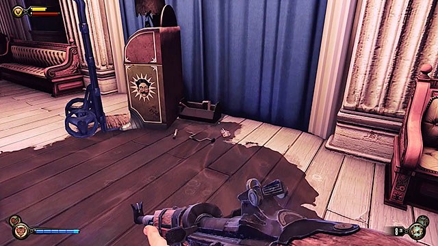 Wait for the elevator to transport you to your destination and explore the pavilion, collecting medical supplies and a shotgun found to the right of the Motorized Patriot - Find Shock Jockey at the Hall of Heroes - Chapter 8 - Soldiers Field - BioShock: Infinite - Game Guide and Walkthrough