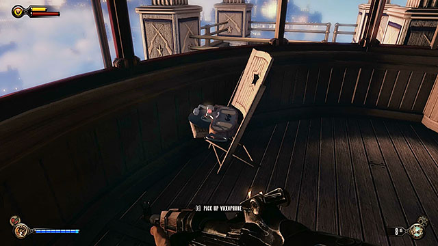 Once youve reached your destination use the stairs to descend to a lower platform and explore a nearby gondola - Find Shock Jockey at the Hall of Heroes - Chapter 8 - Soldiers Field - BioShock: Infinite - Game Guide and Walkthrough