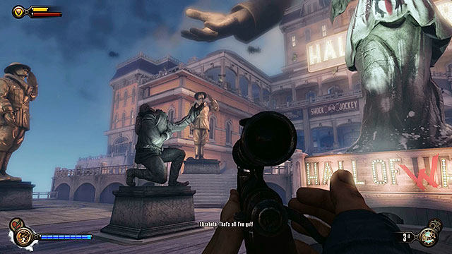 Approach the devastated statue found on the square in front of the Hall of Heroes - Find Shock Jockey at the Hall of Heroes - Chapter 8 - Soldiers Field - BioShock: Infinite - Game Guide and Walkthrough